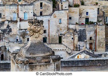 Chimney decoration, street view, Matera, Italy