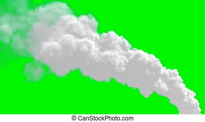 Chimney flue smoke on green screen - Chimney flue smoke...