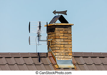 chimney from bricks in the house