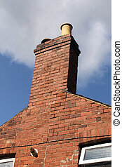 Chimney of old brick house