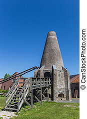 Chimney of the historic lime kiln in Hasselt, Holland