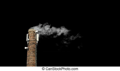 Chimney poluting the air with alpha channel - Polution -...