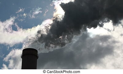 Chimney producing huge amount of gas pollution. Quick motion