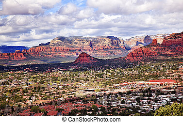 Chimney Rock Bear Mountain Orange Red Rock Canyon Houses, Shopping Malls, Blue Cloudy Sky Green Trees Snow West Sedona Arizona