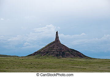 Chimney Rock in western Nebraska was an important landmark along the historic Oregon Trail