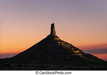 Chimney Rock National Historic Site illuminated at night, ...