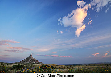 Chimney Rock National Historic Site in early morning, ...