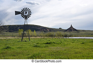 Chimney Rock National Historic Site - Old windmill water...