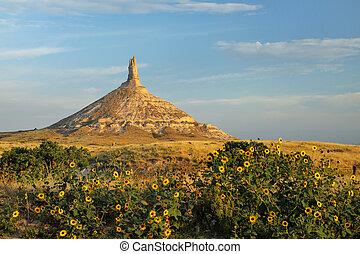 Chimney Rock National Historic Site, western Nebraska, USA...