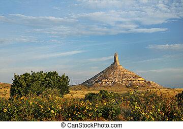 Chimney Rock National Historic Site, western Nebraska, USA. ...