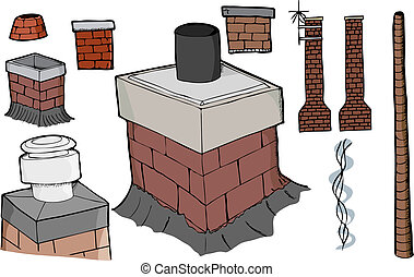 Nine various chimney illustrations with smoke stream and antenna versions.