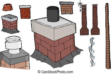 Chimney Set - Nine various chimney illustrations with smoke...