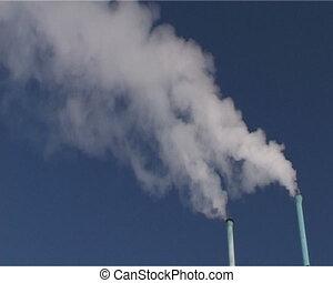Chimney Smoke. Panorama.  - Chimney Smoke. Panorama.