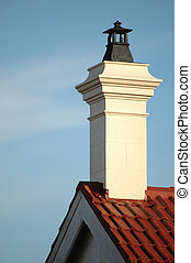chimney stack - chimney on top of red roof