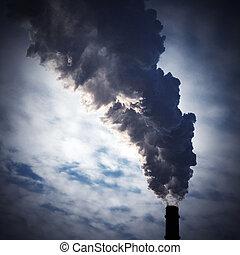 chimney-stalk and smoke - silhouette of chimney-stalk with ...