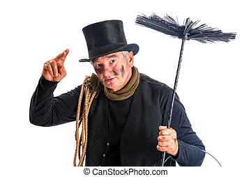 Funny chimney sweep greeting with his top hat