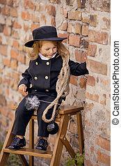 Chimney Sweep Girl - Girl as a chimney sweep against brick ...