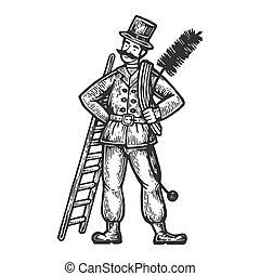 Chimney sweep man engraving vector illustration. Scratch...