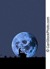chimney sweep silhouette on the rooftop against full moon - ...