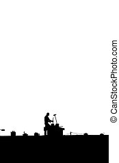 chimney sweep silhouette on the rooftop against white -...