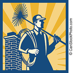 Chimney Sweeper Cleaner Worker Retro - Illustration of a ...