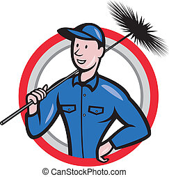 Chimney Sweeper Cleaner Worker Retro - Illustration of a...