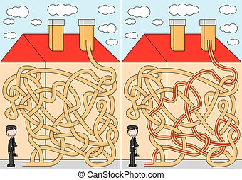 Chimney sweeper maze for kids with a solution