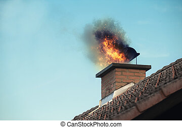 Chimney with a fire coming out
