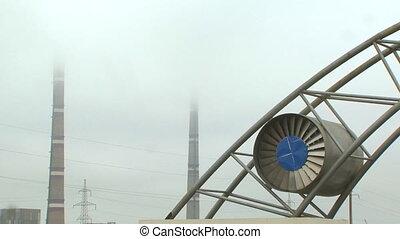 Chimneys and turbine