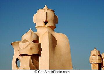 chimneys of Casa Mila - By Gaudi, Barcelona