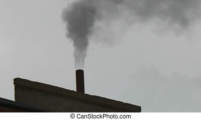 Chimneys of Power Plant. Air Pollution. - Chimneys of Power...