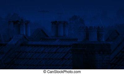 Chimneys On Roof In Heavy Rain At Night - Chimneys on roofs...