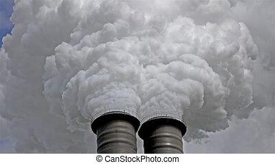 Chimneys producing huge amount of gas pollution - Chimneys...