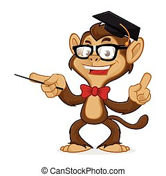 Chimp cartoon mascot wearing glasses and toga hat isolated...