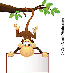 Chimp with blank sign - Vector illustration of Chimp with...
