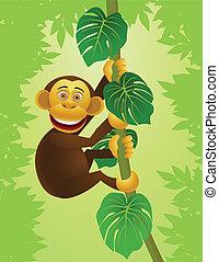 chimpancé, caricatura, en, el, selva