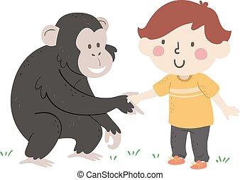 chimpancé, niño, mano, niño, ilustración, saludar