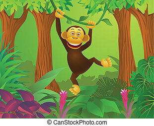chimpanse, ind, den, jungle