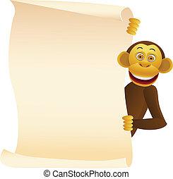 Chimpanzee cartoon and blank sign