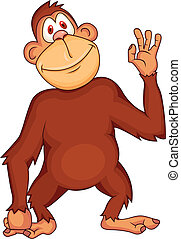 Chimpanzee cartoon - Vector illustration of funny chimpanzee...