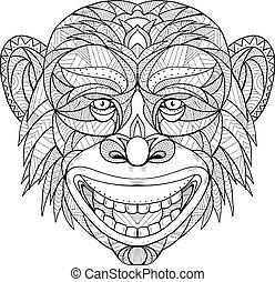 chimpanzee-head-GEO - Zentagle inspired and tangled mandala...