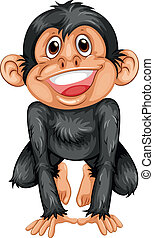 Chimpanzee - Illustration of a black chimpanzee