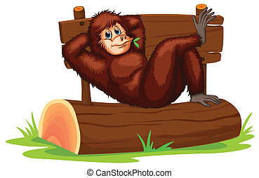 Chimpanzee - Illustration of a chimpanzee relaxing on a log