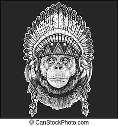 Chimpanzee Monkey Cool animal wearing native american indian headdress with feathers Boho chic style Hand drawn image for tattoo, emblem, badge, logo, patch