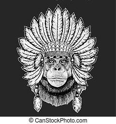 Chimpanzee Monkey Traditional ethnic indian boho headdress...