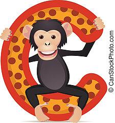 Chimpanzee with alphabet C