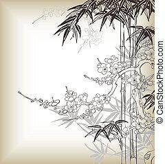 chinês, árvore, fundo