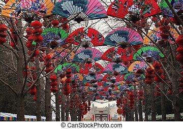 chinês, afortunado, papel, ventiladores, lanternas, lunar,...