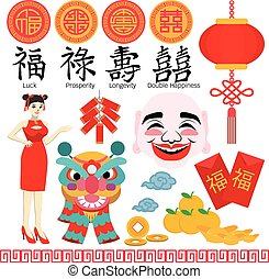 chinês, ano, novo, elemento