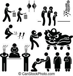 chinês, asiático, religião, tradição